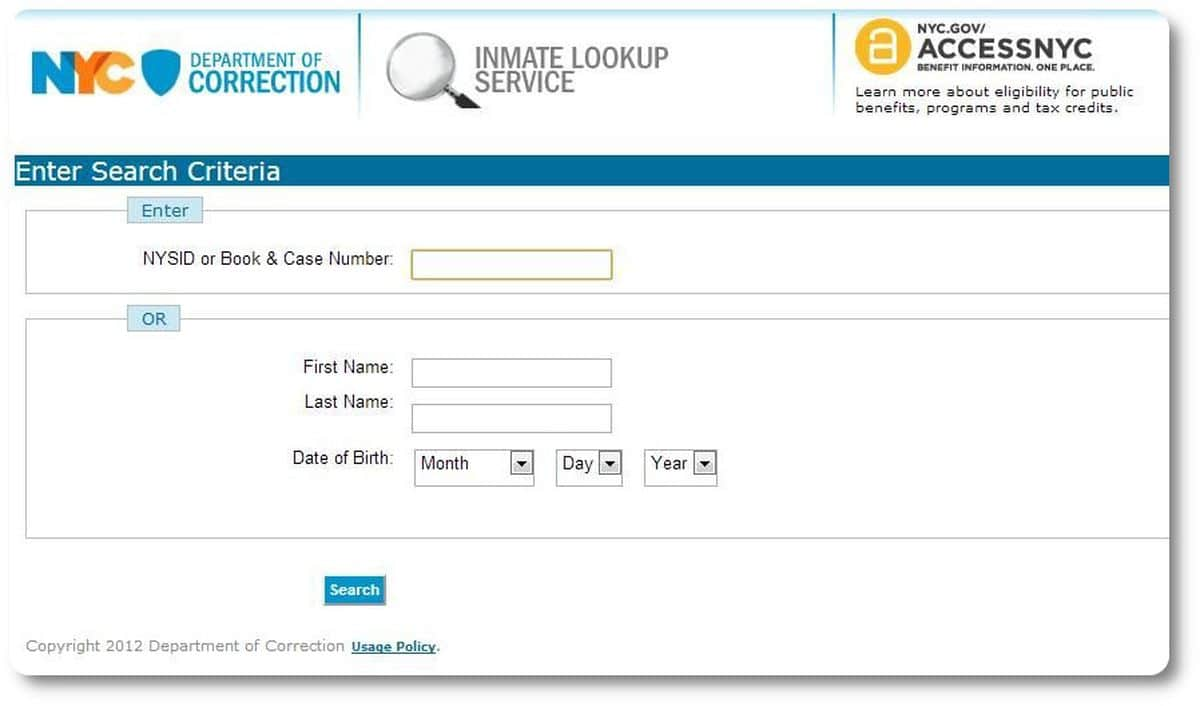 NYC DOC Online Inmate Lookup Form