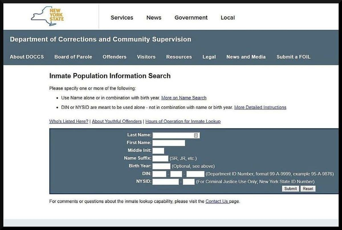 Inmate Population Information Search: NYS DOCCS Website Inmate Search Form